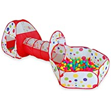 Floving 3 en 1 Kids Play Tienda Tunel de rastreo y bola Hoyo Tienda de Playhouse infantil con aro de baloncesto, para uso interior y exterior con estuche portátil. (Rojo) (Rojo)