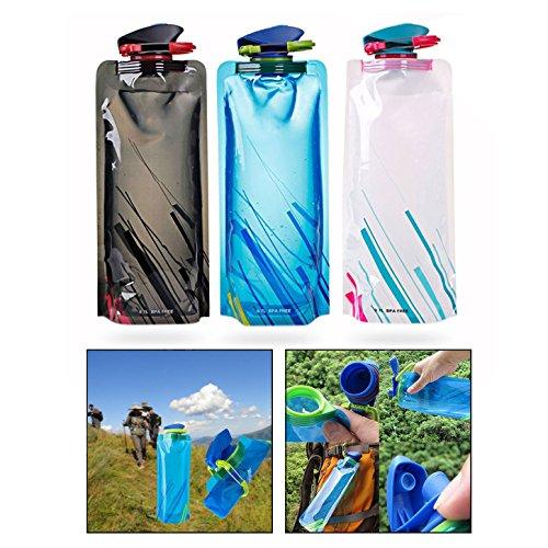OFKPO 3 Stück Faltbare Wasserflaschen,Wiederverwendbare Trinkflasche mit Karabiner für Outdoor Sports Camping Wandern Reisen(700ML)