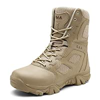 Suetar Mens High-top Military Hiking Boots Outdoor Anti-slip Tactical Combat Boots for Men LQ7068,khaki,10 US
