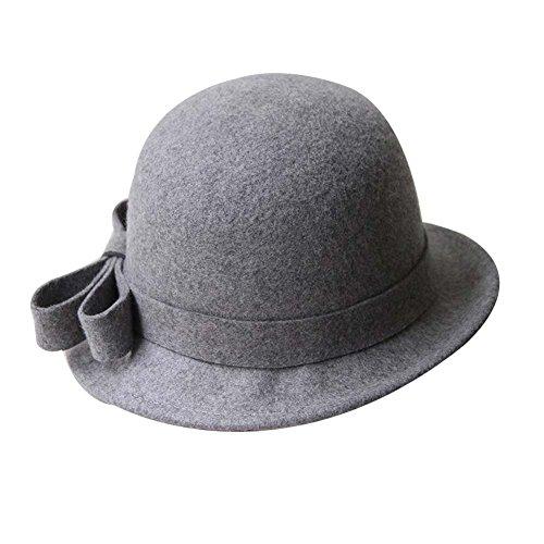 (Stilvolle Wollfilz Hut Billycock Bowler-Hut Wollmütze Rolle Brim Hat, Grau)