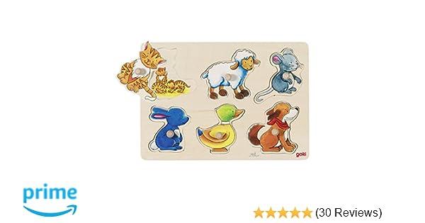 Goki 57866 Ente Tierkinder Kleinkind Holzpuzzle Puzzle Steckpuzzle Hund
