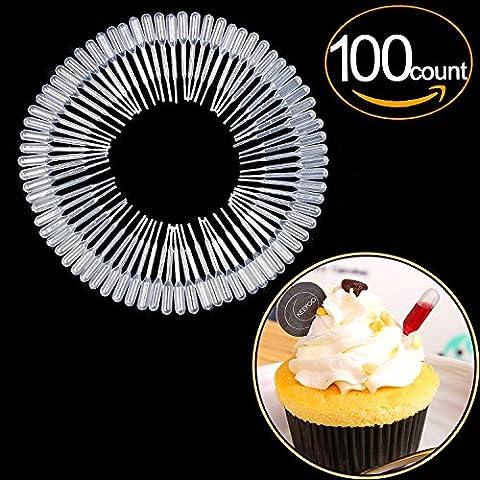 ekind Kunststoff Squeeze Transfer Pipettes geeignet für Schokolade, Muffins, Erdbeeren, Eis, Kuchen, Kinder Malerei, Küche (1.2ml, gradulated, 100Stück), plastik, 1.2ML