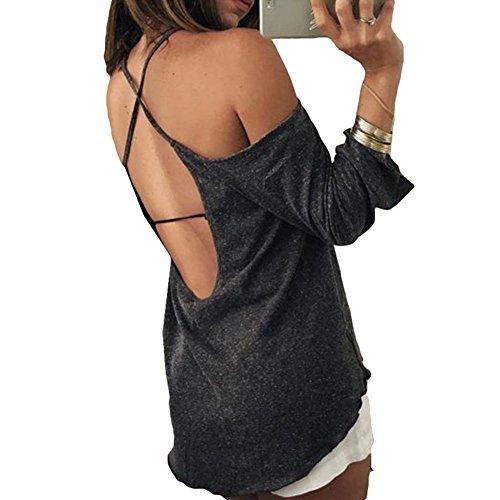 Juleya T-shirt Donna Camicia maniche lunghe donne Casual Sling Camicette Sexy Backless Top larghi Fit Top asimmetrici Morbidi Comodi Grigio scuro