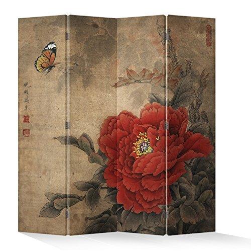 Fine Asianliving – Paravent - Raumteiler – Sichtschutz - Trennwand –Faltbar - Spanische Wand – Leinwand - Artprint – Canvas – Doppelseitig – Bedruckte Leinwand - 4 Fach (180 x 160 cm) - 152