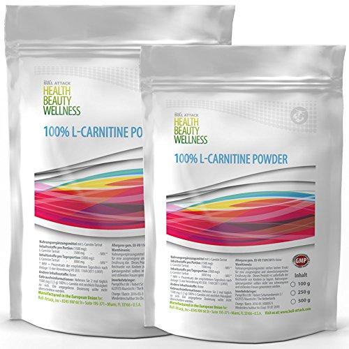L-CARNITIN POWDER | 500g = 160 Tagesportionen | 100% reines Pulver ohne Zusätze | unterstütz Stoffwechsel-Energie-Gewinnung & Fettverbrennug | Premium Qualität