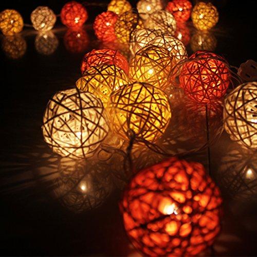 Calcifer® - Guirlande extérieure de boules de rotin de 3 m avec 20 LED - Fil ultra-fin en cuivre - Décoration de mariage, jardin, terrasse, arbre, fête, chambre, Noël White+Orange