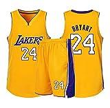 DERTL Adatto per Kobe Bryant No.24 Fan di Los Angeles Lakers Ragazzi Ragazze Magliette da Basket Bambini Adolescenti Abbigliamento Sportivo Camicia Gilet Top Pantaloncini Abito a Due Pezzi-Yellow-M