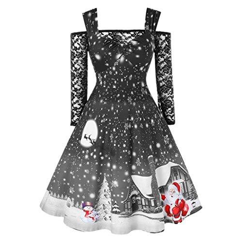 Off Shoulder Kleid Damen Sexy Spitze T-Shirt Patchwork Christmas Druck Vintage Kleid -