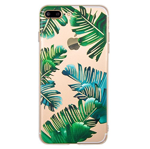 Coque iPhone 7 Plus, Coque iPhone 8 Plus, OFFLY Transparente Souple Silicone TPU étui d' Protection, Cute et Motif Fantaisie pour Apple iPhone 7 Plus / 8 Plus - Feuilles Tropicales
