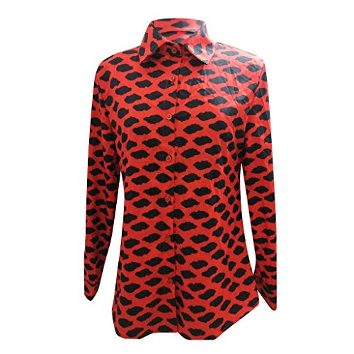 Zirkus Kostüm Zigeuner - ESAILQ Damen BeiläUfige Lange HüLsen Leopard Druck Knopf T-Shirts Tops Bluse(X-Large,Rot)