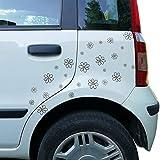 BONFINITY Adesivi Margherite per Auto, Moto, Casco, Vetri, Carrozzeria, Macchina | 26 Sticker Fiori ideali per Vetri Tuning