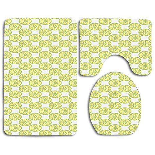 Hicyyu Citrus Pattern Lemonade Juice Summer Fresh Smoothie Organic Vitamin Design 3 Piece Bathroom Rug Set Non-Slip Bath Mat Contour Rug Toilet Lid Cover Home Decorative Doormat
