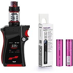 Authentique SMOK MAG KIT avec TFV12 Prince Tank 225W (Noir/Rogue) Cigarette électronique Inclusa Batteria 2X 18650 3000mAh Efest + PEACEVAPE TM 18650 Chargeur