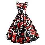 BringBring Damen Vintage 1950er Jahre ärmelloses Land Kleid Hepburn Cocktailkleid (M, Red)