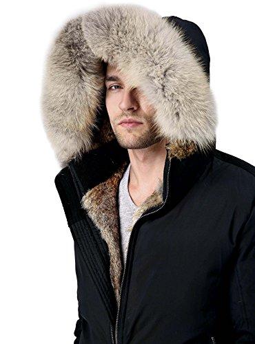Escalier Uomo Inverno imbottito con cappuccio foderato di vera pelliccia impermeabile Parka cappotto del piumino (XX-large, nero)