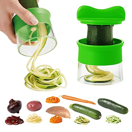 Máquina de Cortar Verduras Frutas Espiral, Rallador y Cortador Manual...