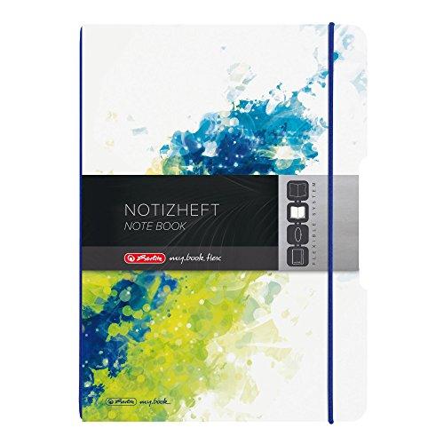 Herlitz 50003297 Notizheft flex, A4, 2 x 40 Blatt liniert und kariert, PP, lemon