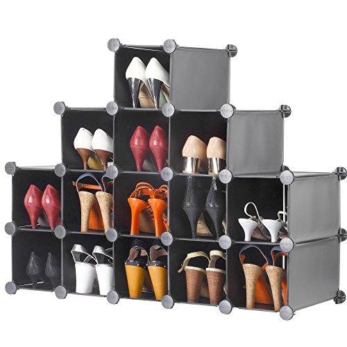 VonHaus 16x Verriegelung Abstellflächen Schuhregal Schrank Boxen. Stellen Sie in jeder Größe und Form. Organisieren Sie Schuhe, Kleidung und Spielzeug. Schwarz