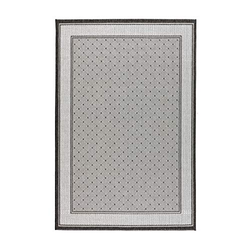 havatex Flachgewebe Teppich Carmen - natürlicher Sisal-Look aus robuster Kunstfaser | Indoor & Outdoor geeignet | 3 tolle Farbkombinationen, Farbe:Grau, Größe:120 x 170 cm -