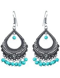 Subharpit Hanging Dangle Turquoise Beads Non Precious Metal Silver Earring For Women