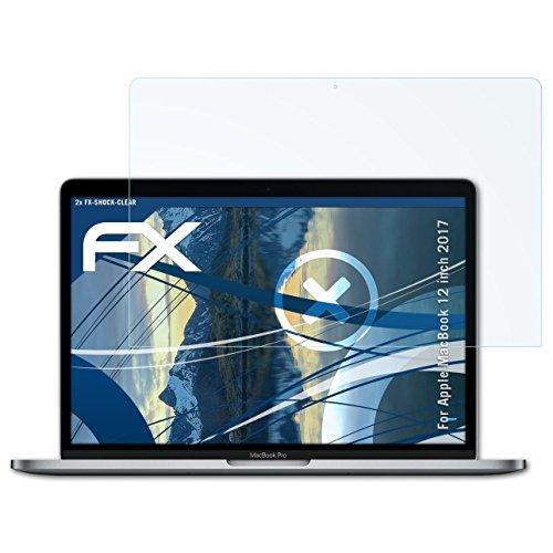 atFolix Schutzfolie kompatibel mit Apple MacBook 12 inch 2017 Panzerfolie, ultraklare & stoßdämpfende FX Folie (2X)