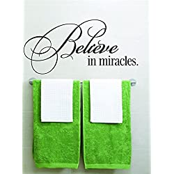 wandaufkleber 3d schlafzimmer Believe In Miracles Picture Art &Ndash; Boys Bed Room &Ndash; Home Decor Size : 6 Inches X 16 Inches - Vinyl Wall Sticker