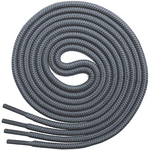 Miscly - Schnürsenkel Rund, Reißfest [3 Paar] für Sportschuhe, Sneakers und Stiefel - 100% Polyester - Ø 4 mm (69 cm, Grau)