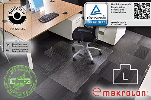 """Transparente Bodenschutzmatte, 120 x 150 cm, Sonderform \""""L\"""", aus Makrolon®, Schutzmatte mit Noppen für Teppichböden, 17 weitere Größen wählbar"""