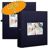 Lotto di 2 album fotografici con tasche, Square, 200 foto da 11,5 x 15 cm, blu