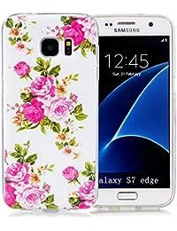 Nnopbeclik Für Samsung Galaxy S7 Edge Silikon Hülle, Durchsichtig Leuchtend TPU Clear Case Schutzhülle, Drucken Muster Ultra Slim Weich Flexible Tasche Etui, Luxus Bling Glitzer Stoßdämpfend Transparent Schutz Handytasche Schale Bumper Pour Samsung Galaxy S7 Edge [Rosa]