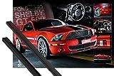 1art1 Poster + Hanger: Autos Poster (91x61 cm) Easton Roter Mustang Inklusive EIN Paar Posterleisten, Schwarz