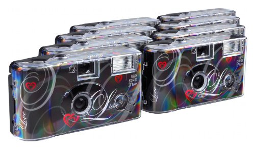 TopShot Love Einwegkamera (27 Fotos, Blitz, 8-er Pack) schwarz
