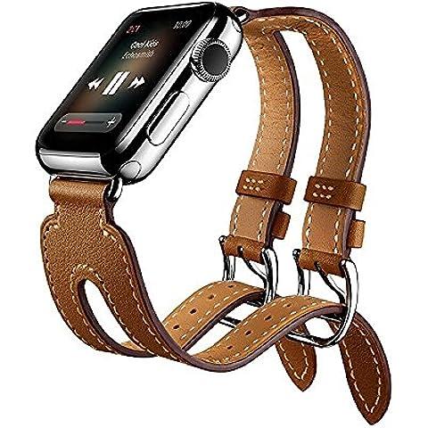 Apple Watch Correa,doble hebilla Bofetada Cuff,MaKer Auténtico Cuero pulsera con adaptador,Pulseras de repuesto para iWatch Serie 2 y