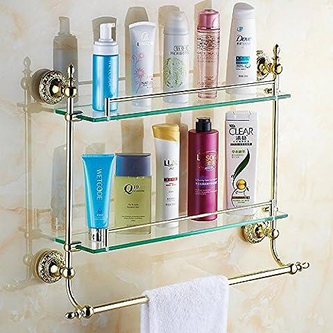 QUEEN'S Gold-accessori per bagno ripiani in vetro