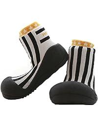 Attipas Newborn 3-40 months Baby Boys Soft Sole Prewalker Toddler Footwear Cozie Socks cum Shoes Fleece Booties, Black