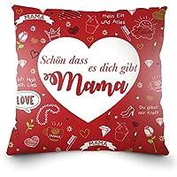 """Weiches Kissen zum Muttertag oder Mamas Geburtstag mit dem Aufdruck auf Deutsch - """"Schön dass es dich gibt Mama"""". 40x40cm"""