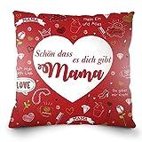 Weiches Kissen zum Muttertag oder Mamas Geburtstag mit dem Aufdruck auf Deutsch - 'Schön dass es dich gibt Mama'. 40x40cm