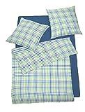 Schlafgut Bettwäsche Satin grün-blau kariert Größe 135x200 cm (80x80 cm)