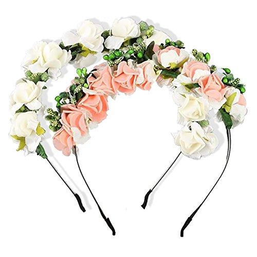 Mangotree 2er Pack Blumen Stirnband Blumengirlande Hochzeit Haarkranz Prom-Haar-Zubehör Blume Krone für Brautjungfer (Rosa + Weiß)