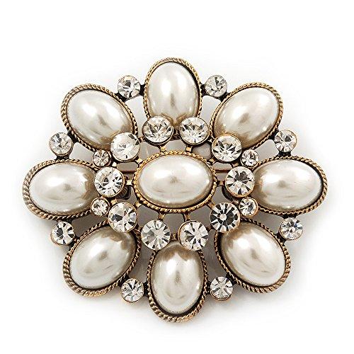 vintage-faux-pearl-diamante-brooch-in-antique-gold-metal-55cm-length