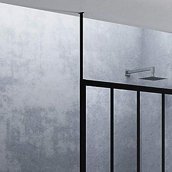 Paroi De Douche Et Baignoire Fixation Plafond H 250cm Noir Mat