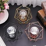 Wanfor 3D Geometrischer Kerzenhalter aus Metall für Hochzeit, Heimdekoration, 3 Farben, Eisen, Gold, Einheitsgröße - 4