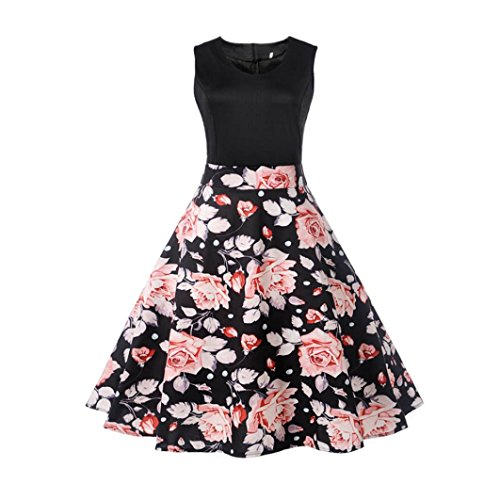 (OVERDOSE Damen Blumen Vintage 1950er Ärmellos Casual Abend Partei Abschlussball Schwingen Kleid Cocktailkleid Rockabilly Kleid(A-Black 5,EU-38/CN-M))