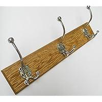 Ironmongery World® in 7misure in legno di quercia massiccio in ottone Cappello e cappotto ganci Rail porta Board CD87, CP LARGE TRIPLE 4