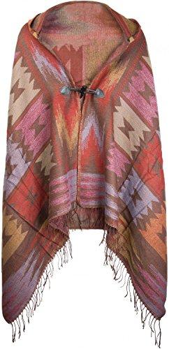 styleBREAKER Poncho im Azteken, Ethno Design mit Kapuze und Knebelknopf Verschluss, Umhang Cape, Damen 08010006, Farbe:Taupe-Rot-Gelb Damen Leder Fransen Jacke