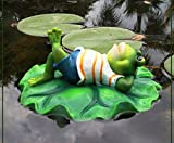 #7: Wonderland Floating / Floater relaxing frog made of resin for home or garden decor decoration