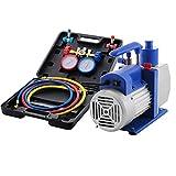 Worldhero Vacuum Pump Kit 4.8CFM 1/3HP HVAC Air Conditioning Refrigerant Rotary Vane Vacuum Pump with 3 Valve R410A R134A R22 A/C Manifold Gauge Set