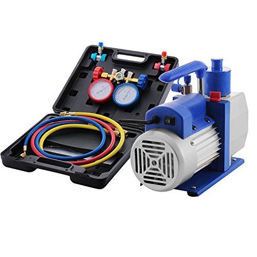 BananaB 4.8CFM 1/3HP Vakuumpumpen-Kit HVAC Vacuum Pump Klimaanlage Kältemittel-Drehschieber-Vakuumpumpe mit 3 Ventil R410A R134A R22 A/C Verteiler-Manometer-Set