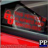Platinum Place 6x Alarm, Wegfahrsperre stickers-padlock-red/clear-alarmed und immobilised 2-signs-car, Van, LKW, Wohnwagen, Wohnmobil, Truck, Taxi, Minicab, Auto, groß