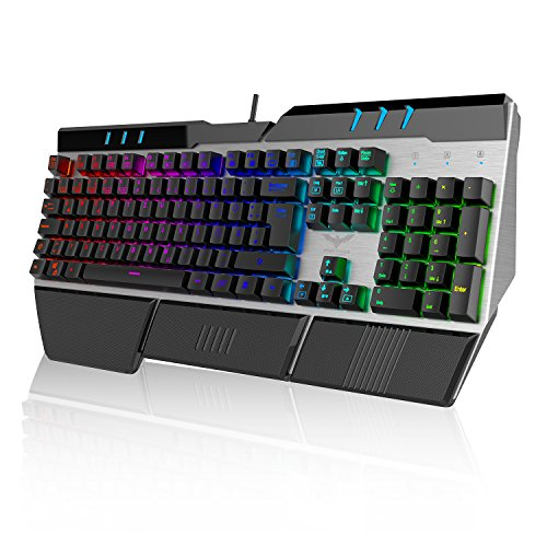 HAVIT Mechanische Gaming-Tastatur mit RGB-Beleuchtung (QWERTZ, deutsches Layout), auswechselbaren Tasten (Blue Switches), Anti-Ghosting, 105 Tasten mit USB-Kabel (KB378L-DE)